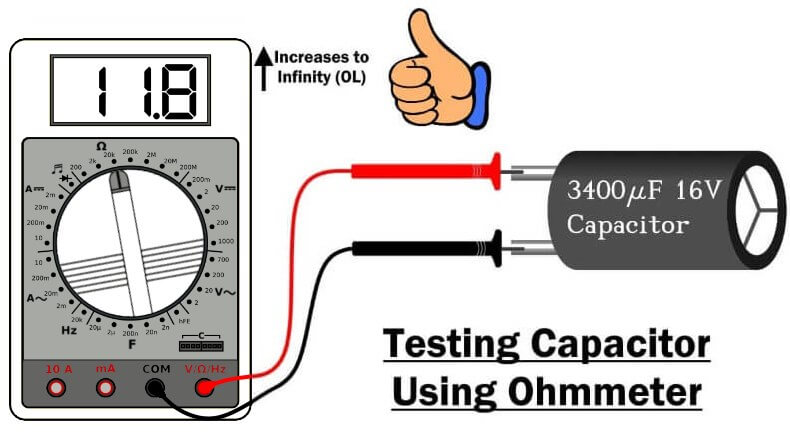 Capacitor test using ohmmeter