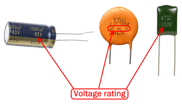 Voltage rating of capacitors